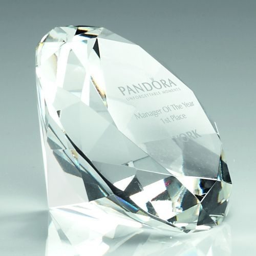 Clear Glass Diamond Shaped Paperweight In Box - 3.25in
