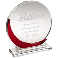 Clear Glass Round Plaque With Red Accent (10mm Thick) - 6.75in