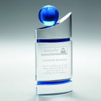 Clear-Blue Domed Glass Plaque With Blue Globe - 8.25in (New 2014)