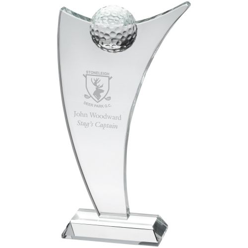 Clear Glass Sail Plaque With Half Golf Ball - 11.25in