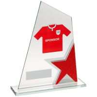 Jade Red Silver Glass Plaque With Football Shirt Trophy Award (Shirt B) - 8in