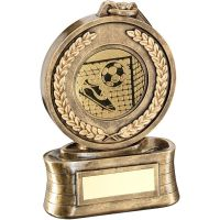 Bronze Gold Medal And Ribbon With Football Insert Trophy - 6.5in