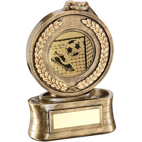 Bronze Gold Medal And Ribbon With Football Insert Trophy - 5in