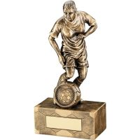 Bronze Gold Female Football Figure Trophy 7.25in