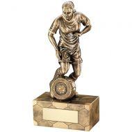Bronze Gold Female Football Figure Trophy 8.75in