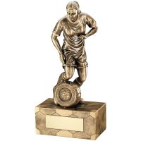 Bronze Gold Female Football Figure Trophy 8.75in
