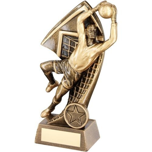 Bronze Gold Goalkeeper With Net Backdrop Trophy - (1in Centre) 7in