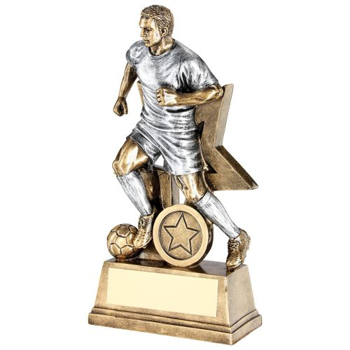 Bronze Pewter Male Football Figure With Star Backing Trophy Award - 7in