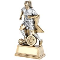 Bronze Pewter Female Football Figure With Star Backing Trophy Award - 6in