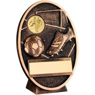 Bronze-Gold Football+Boot Oval Plaque Trophy - 5in (New 2014)