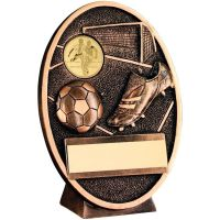 Bronze-Gold Football+Boot Oval Plaque Trophy - 4.25in (New 2014)