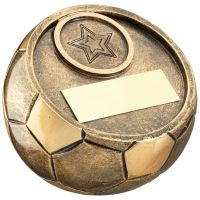 Bronze Gold Full 3d Angled Football Trophy Award - 4.75in Dia