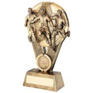 Bronze / Gold Male Multi Footballer On Ball Trophy Award - 6in