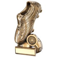 Bronze Gold Football Boot On Half-Ball Base Trophy - (1in Centre) 6.5in