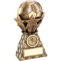 Bronze Gold Football And Stars Net Burst Trophy - (1in Centre) 7in