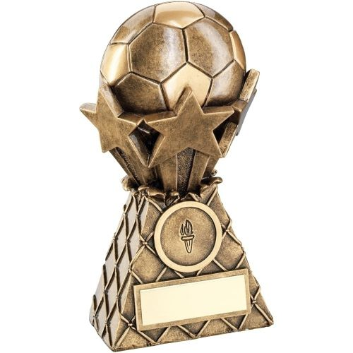 Bronze Gold Football And Stars Net Burst Trophy - (1in Centre) 5in