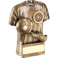 Bronze Gold Football Trophy Shirt With Boot Ball Trophy - (1in Centre) 4in