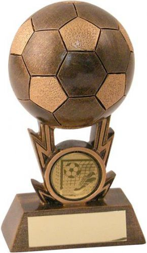 Bronze-Gold Football On Strikes Trophy - 4.25in (New 2014)