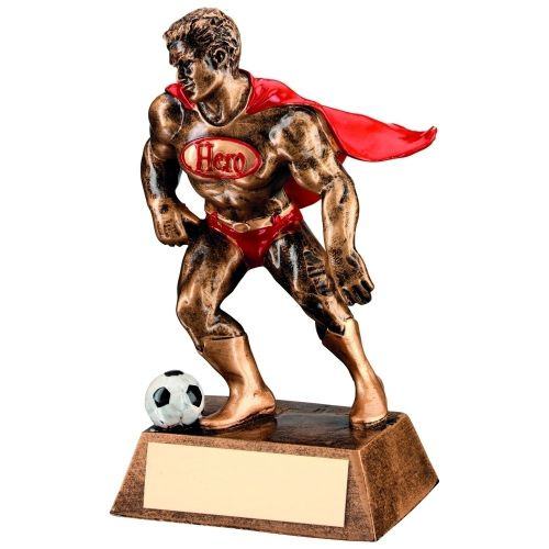 Bronze Gold Red Resin Football Hero Trophy - 6.25in