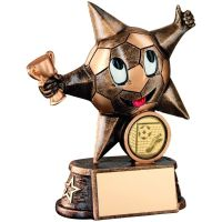 Bronze Gold Resin Football Comic Star Figure Trophy - 5in