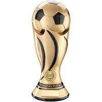 Managers Player - Gold Black Football Swirl Column Trophy Award - 11in
