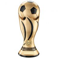 Most Improved - Gold Black Football Swirl Column Trophy Award - 11in