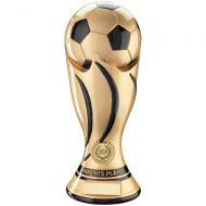 Parenets Player - Gold Black Football Swirl Column Trophy Award - 11in