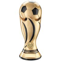 Players Player - Gold Black Football Swirl Column Trophy Award - 11in