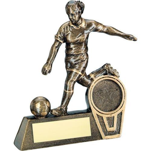 Bronze Gold Mini Female Football Figure Trophy 5.5in