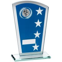 Blue Silver Printed Glass Shield Trophy Award With Football Insert Trophy - 8in
