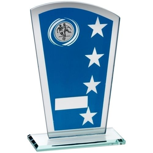 Blue Silver Printed Glass Shield Trophy Award With Football Insert Trophy - 7.25in