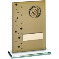 Gold Black Printed Glass Rectangle With Football Insert Trophy - 6.75in