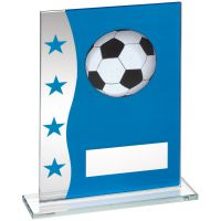 Blue Silver Printed Glass Plaque With Football Image Trophy Award - 8in