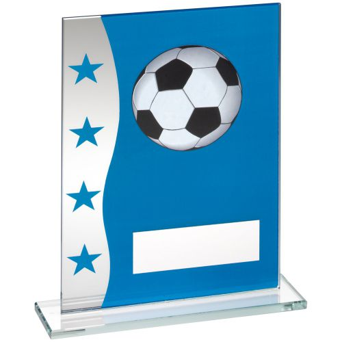 Blue Silver Printed Glass Plaque With Football Image Trophy Award - 7.25in