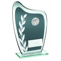 Grey Silver Glass Plaque With Football Insert Trophy 8in