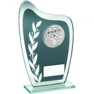 Grey Silver Glass Plaque With Football Insert Trophy 6.5in