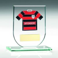 Jade Glass Plaque With Football Shirt Trophy Award - (Shirt B) - 4.25in