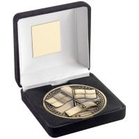 Green Velvet Box And 70mm Medallion Referee Trophy Award - Antique Gold - 4in