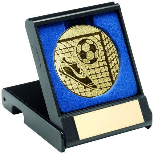 Black Plastic Box And Gold Football Centre - 3.5in