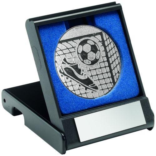 Black Plastic Box And Silver Football Centre - 3.5in