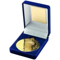 Blue Velvet Box And Gold Football Medal Trophy - 3.5in