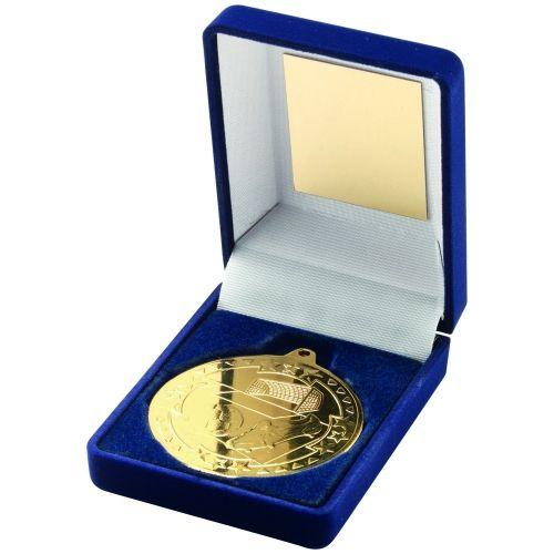 Blue Velvet Box And Gold Football Medal Trophy - 3.5in