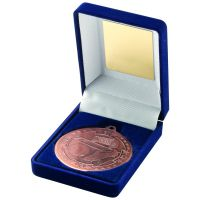 Blue Velvet Box And Bronze Football Medal Trophy - 3.5in
