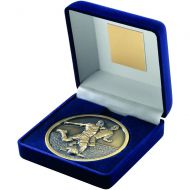 Blue Velvet Box and Antique Gold Football Medal Trophy - 4in