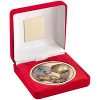 Red Velvet Box And Antique Gold Football Medal Trophy - 4in