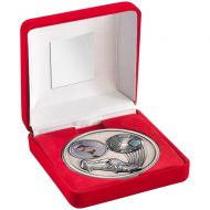 Red Velvet Box And Antique Silver Football Medal Trophy - 4in