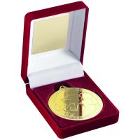 Red Velvet Box And Medal Football Trophy Gold 3.5in