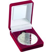 Red Velvet Box And Medal Football Trophy Silver 3.5in