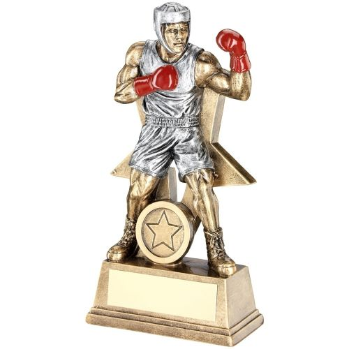 Bronze Pewter Red Male Boxing Figure With Star Backing Trophy Award - 9in