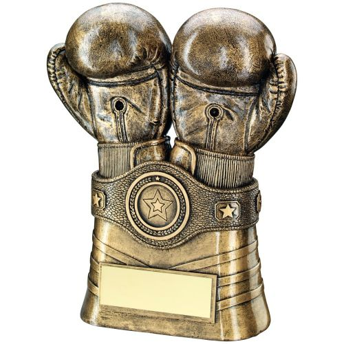 Bronze Gold Boxing Gloves And Belt Trophy 8in